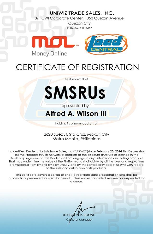 Dealer SMSRUs LoadCentral Certificate