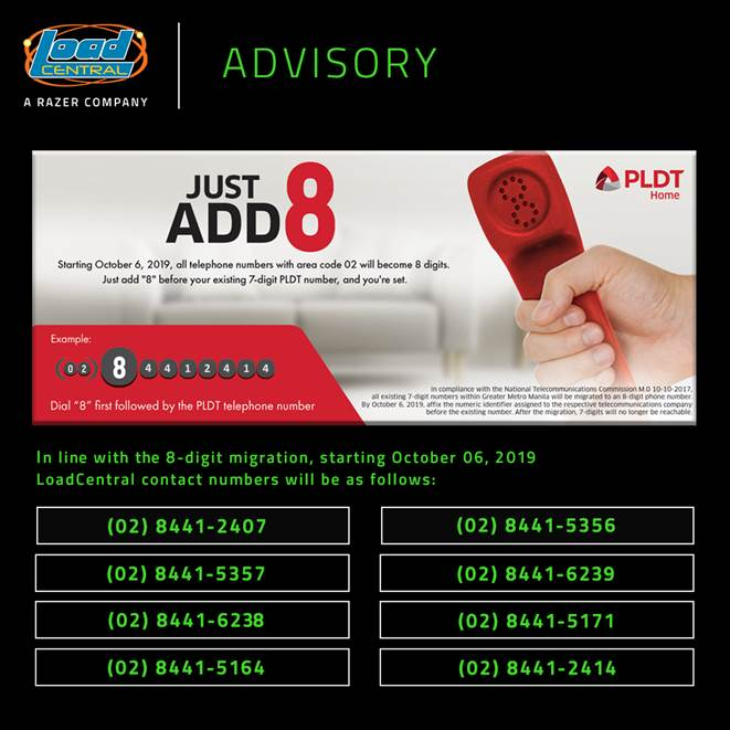 LoadCentral New Contact Numbers as of Oct 6 2019