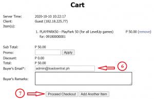 How to buy PlayPark load using GCash, PayMaya or Coins.Ph - Cart