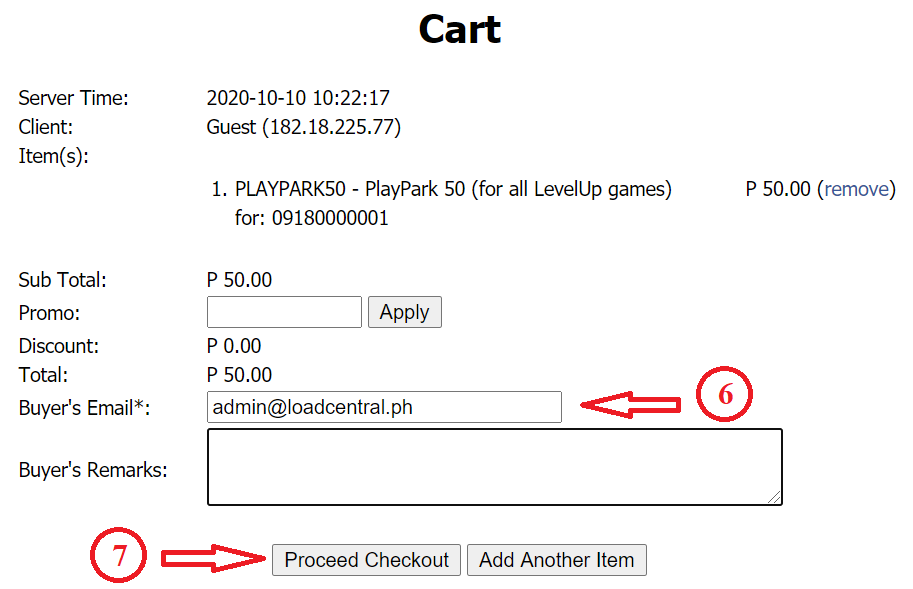 How to buy PlayPark load using GCash, PayMaya or Coins.Ph - Cart