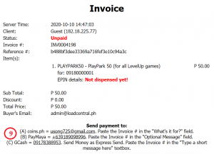 How to buy PlayPark load using GCash, PayMaya or Coins.Ph - Invoice