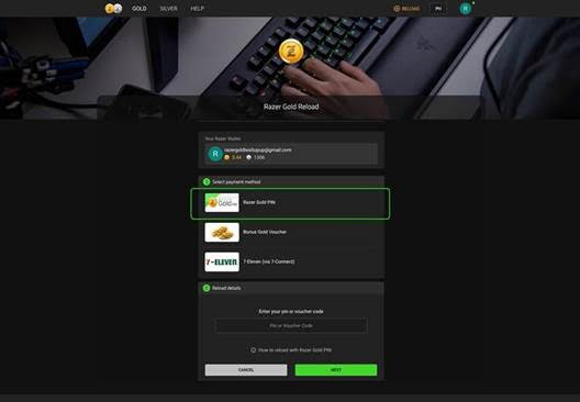 STEP 2. RELOAD Razer Gold account using the Razer Gold 14-digit ePIN